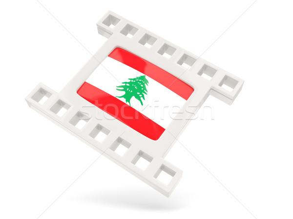 Film ikon zászló Libanon izolált fehér Stock fotó © MikhailMishchenko