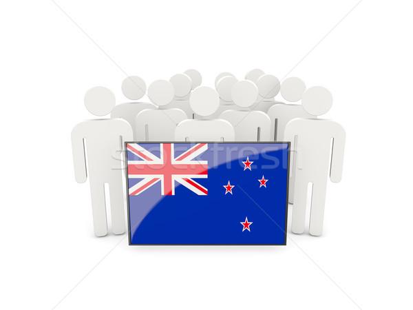 Emberek zászló Új-Zéland izolált fehér tömeg Stock fotó © MikhailMishchenko