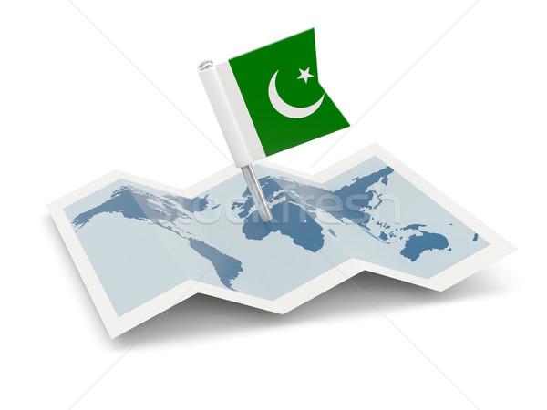Harita bayrak Pakistan yalıtılmış beyaz Stok fotoğraf © MikhailMishchenko