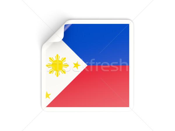 Kare etiket bayrak Filipinler yalıtılmış beyaz Stok fotoğraf © MikhailMishchenko