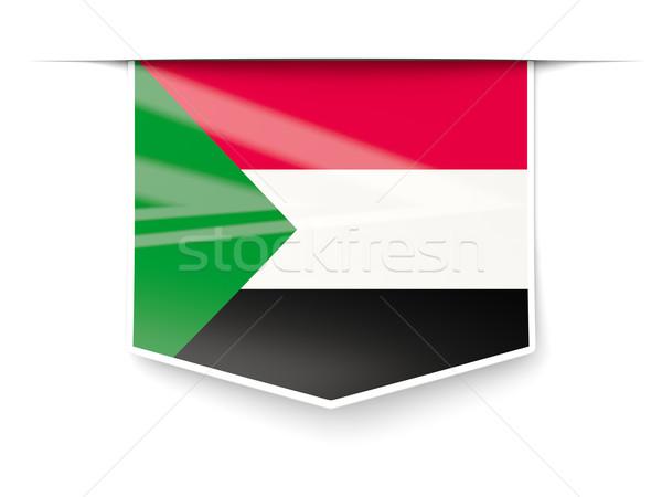 Placu etykiety banderą Sudan odizolowany biały Zdjęcia stock © MikhailMishchenko