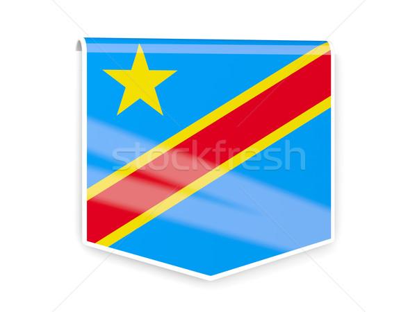 Bayrak etiket demokratik cumhuriyet Kongo yalıtılmış Stok fotoğraf © MikhailMishchenko