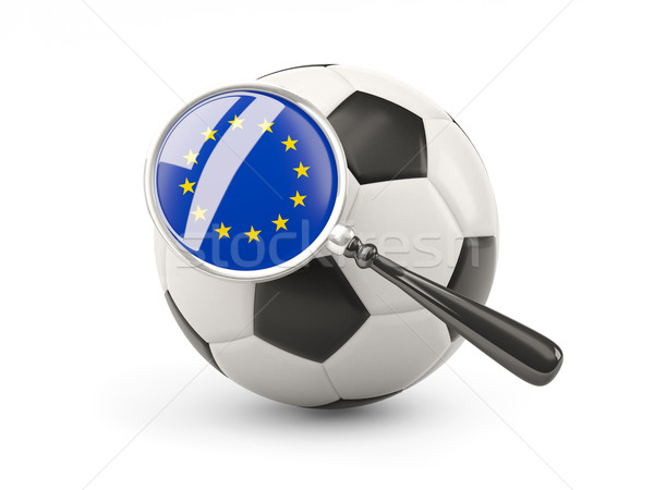 Football with magnified flag of european union Stock photo © MikhailMishchenko