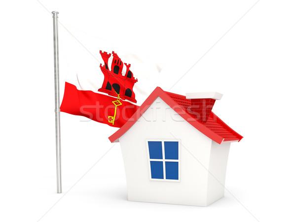 Domu banderą gibraltar odizolowany biały domu Zdjęcia stock © MikhailMishchenko