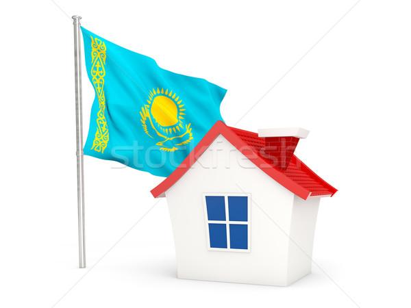 Casa bandeira Cazaquistão isolado branco casa Foto stock © MikhailMishchenko