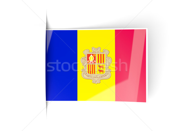 Vierkante label vlag Andorra geïsoleerd witte Stockfoto © MikhailMishchenko