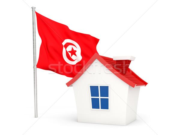 Casa bandeira Tunísia isolado branco casa Foto stock © MikhailMishchenko