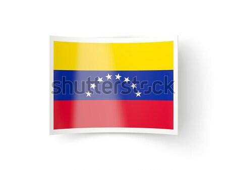 Tér ikon zászló Venezuela fém keret Stock fotó © MikhailMishchenko