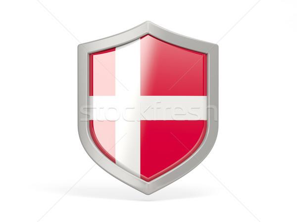 Schild icon vlag Denemarken geïsoleerd witte Stockfoto © MikhailMishchenko