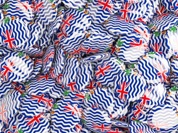 Background with round pins with flag of british indian ocean ter Stock photo © MikhailMishchenko