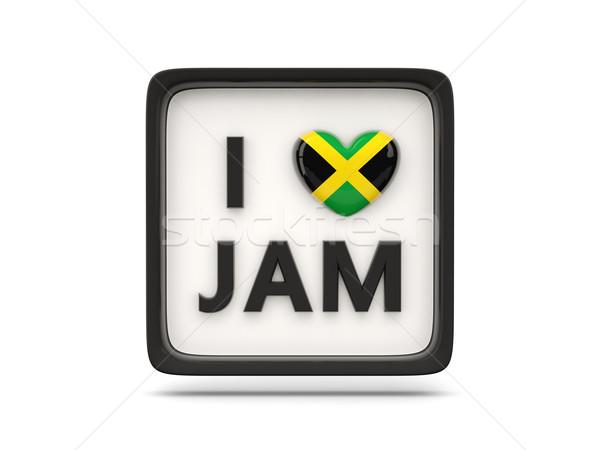 Sevmek Jamaika imzalamak yalıtılmış beyaz kalp Stok fotoğraf © MikhailMishchenko