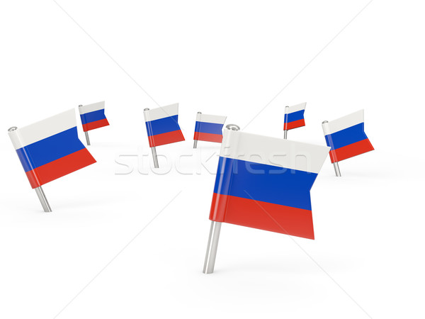 Square pins with flag of russia Stock photo © MikhailMishchenko