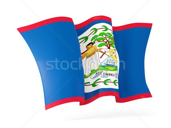 Stock fotó: Integet · zászló · Belize · 3d · illusztráció · izolált · fehér