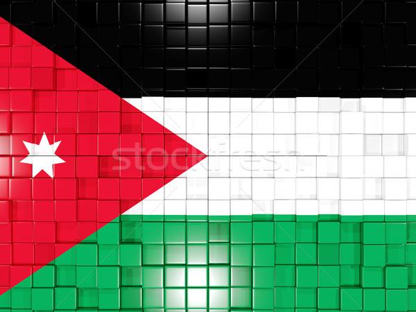 Placu banderą Jordania 3d ilustracji mozaiki Zdjęcia stock © MikhailMishchenko