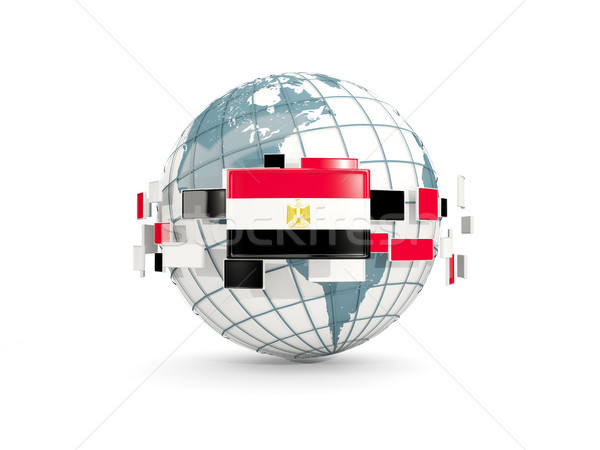 Globe with flag of egypt isolated on white Stock photo © MikhailMishchenko