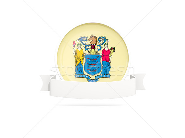 Flag of new jersey with banner, US state round icon Stock photo © MikhailMishchenko
