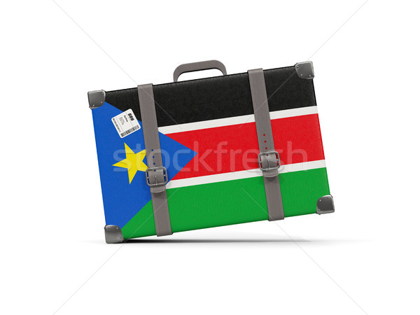 Luggage with flag of south sudan. Suitcase isolated on white Stock photo © MikhailMishchenko
