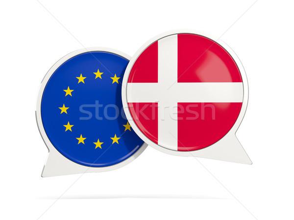 Chat burbujas ue Dinamarca aislado blanco Foto stock © MikhailMishchenko