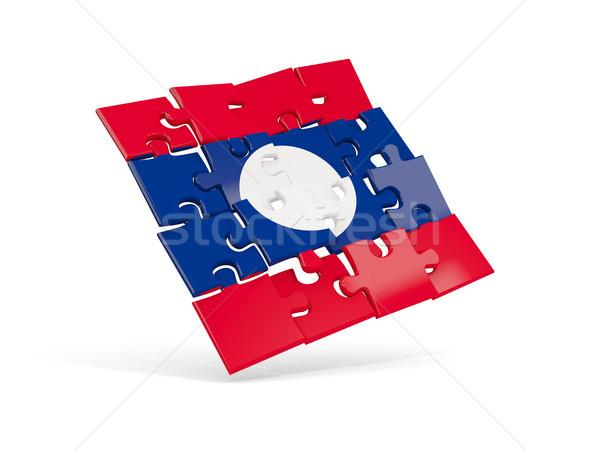 Puzzle banderą Laos odizolowany biały 3d ilustracji Zdjęcia stock © MikhailMishchenko