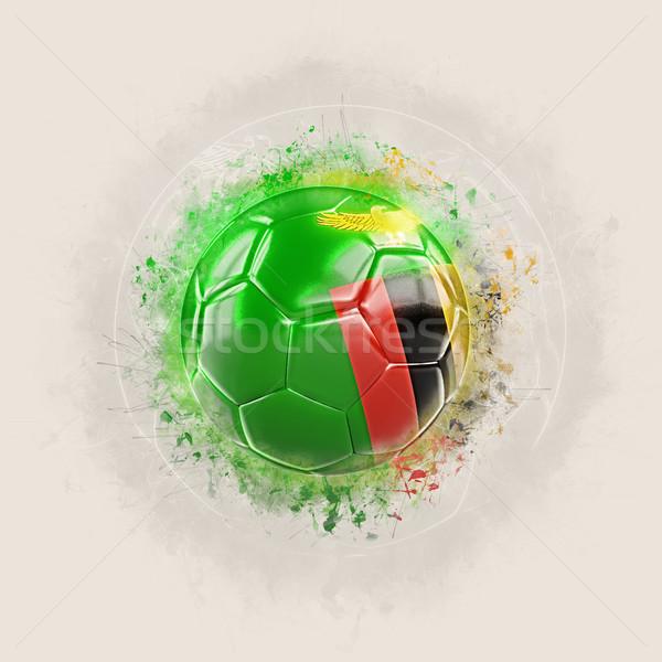 Гранж футбола флаг Замбия 3d иллюстрации Мир Сток-фото © MikhailMishchenko