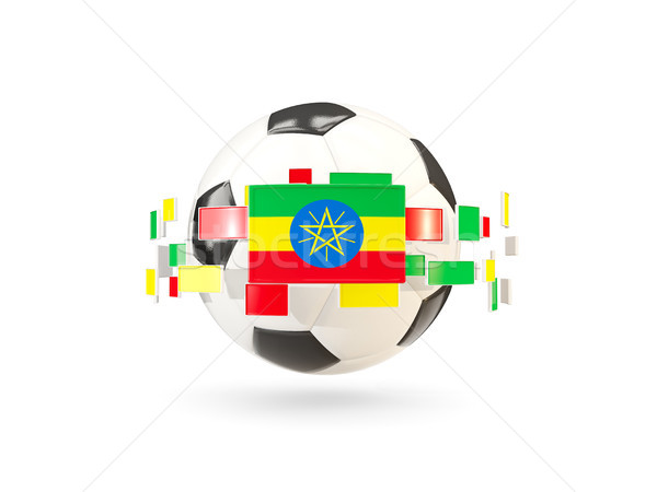Soccer ball with line of flags. Flag of ethiopia Stock photo © MikhailMishchenko