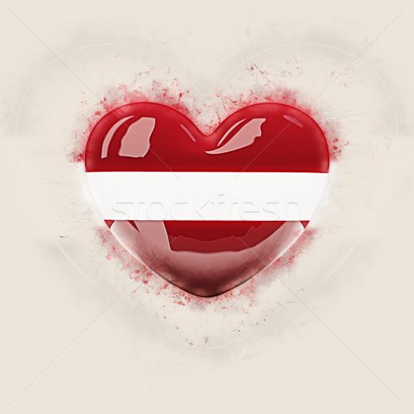 Hart vlag Letland grunge 3d illustration reizen Stockfoto © MikhailMishchenko