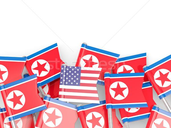 Flag pins of North Korea and USA Stock photo © MikhailMishchenko