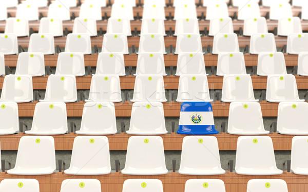 Estádio assento bandeira El Salvador branco Foto stock © MikhailMishchenko