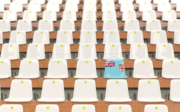 Estádio assento bandeira Fiji branco Foto stock © MikhailMishchenko