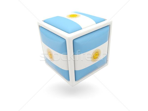 Bandeira Argentina cubo ícone isolado branco Foto stock © MikhailMishchenko