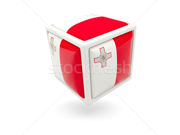 Vlag Malta kubus icon geïsoleerd witte Stockfoto © MikhailMishchenko