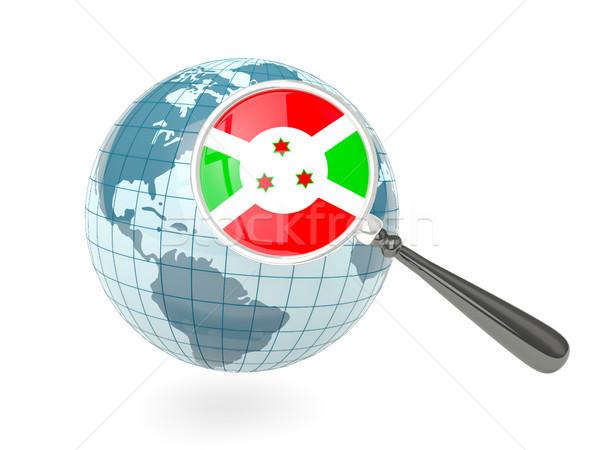 Bandeira Burundi azul globo isolado Foto stock © MikhailMishchenko