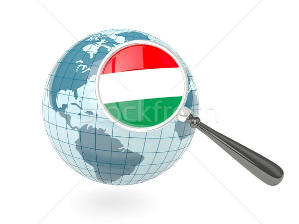 Stock fotó: Nagyított · zászló · Magyarország · kék · földgömb · izolált