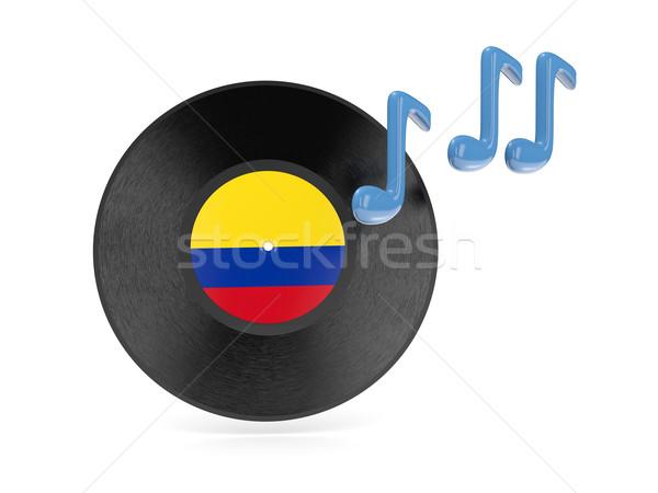 Vinil disk bayrak Kolombiya yalıtılmış beyaz Stok fotoğraf © MikhailMishchenko