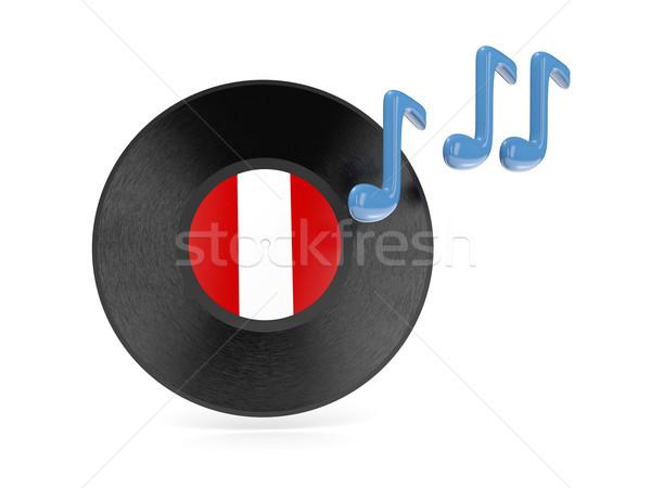 Vinil disco bandeira Peru isolado branco Foto stock © MikhailMishchenko