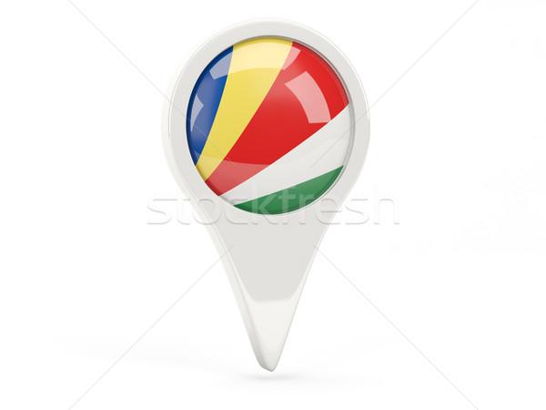 Zászló ikon Seychelle-szigetek izolált fehér térkép Stock fotó © MikhailMishchenko