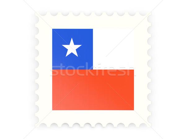 Postabélyeg ikon Chile izolált fehér felirat Stock fotó © MikhailMishchenko