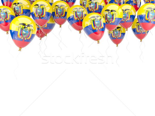 Globo marco bandera Ecuador aislado blanco Foto stock © MikhailMishchenko