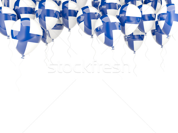 Balão quadro bandeira Finlândia isolado branco Foto stock © MikhailMishchenko