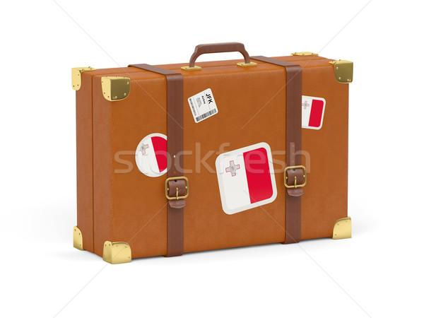 スーツケース フラグ マルタ 旅行 孤立した 白 ストックフォト © MikhailMishchenko