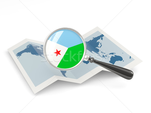 Magnified flag of djibouti with map Stock photo © MikhailMishchenko