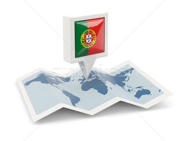 Square pin with flag of portugal on the map Stock photo © MikhailMishchenko