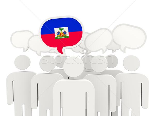Personnes pavillon Haïti isolé blanche réunion Photo stock © MikhailMishchenko