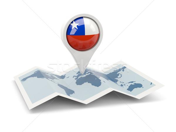 Tő zászló Chile térkép utazás keresés Stock fotó © MikhailMishchenko