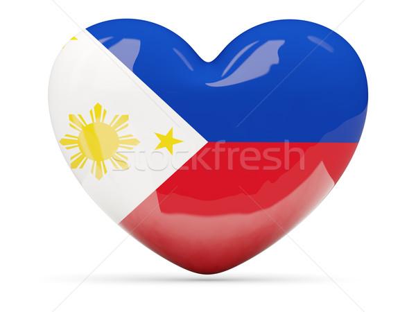 Heart shaped icon with flag of philippines Stock photo © MikhailMishchenko