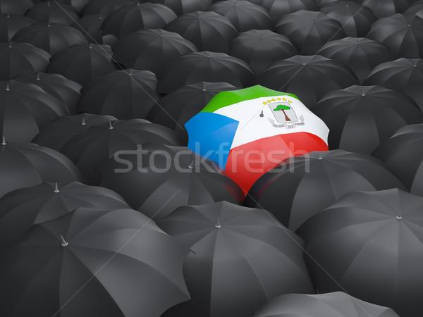 Guarda-chuva bandeira Guiné Equatorial preto guarda-chuvas chuva Foto stock © MikhailMishchenko