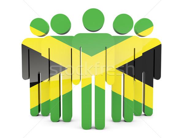 Insanlar bayrak Jamaika yalıtılmış beyaz kalabalık Stok fotoğraf © MikhailMishchenko