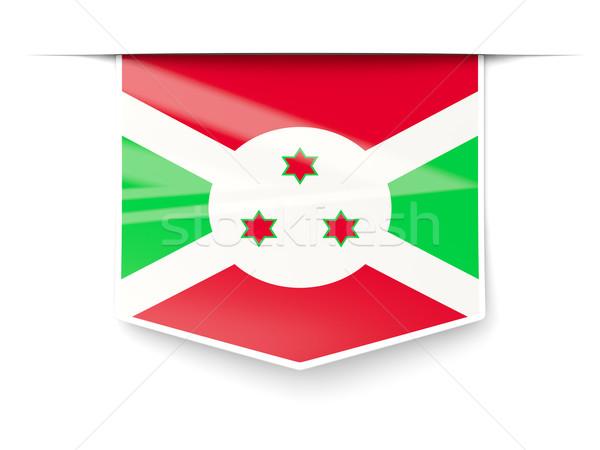 Foto stock: Praça · etiqueta · bandeira · Burundi · isolado · branco