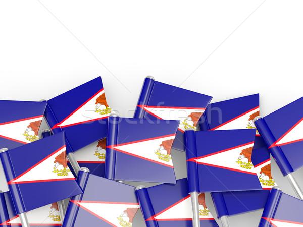 Bandeira pin Samoa Americana isolado branco mundo Foto stock © MikhailMishchenko