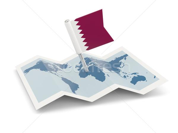 Harita bayrak Katar yalıtılmış beyaz Stok fotoğraf © MikhailMishchenko